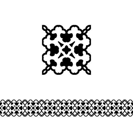 Modern line border with vintage patterns
