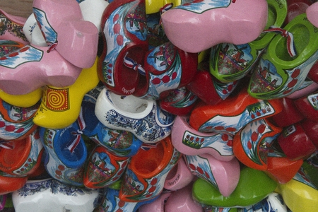 clogs: Bunch of small colorful clogs Stock Photo