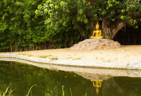 Buddha Monk Statue near the pool photo