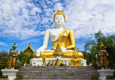 Photo of Big Buddha Statue with the Blue Sky and White Clouds in the Background  photo