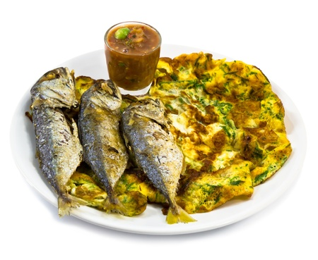 fried foods: Fried Mackerel and Thai Omelet with Shrimp Paste Chilli Sauce Stock Photo