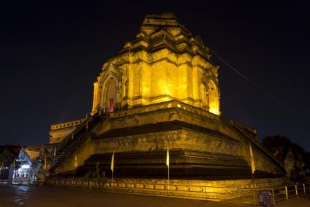 Night Scene of Prathat Chedi Luang in Chiangmai, Thailand  photo