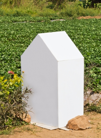 kilometre: Fake Milestone made by plastic board in strawberry garden