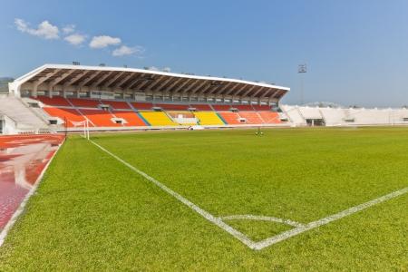 grandstand: Soccer Corners Marking on Green Grass