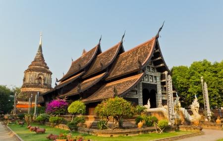 molee: Buddhist Pagoda and Buddhist Church at Wat Lok Molee in Chiangmai, Thailand.