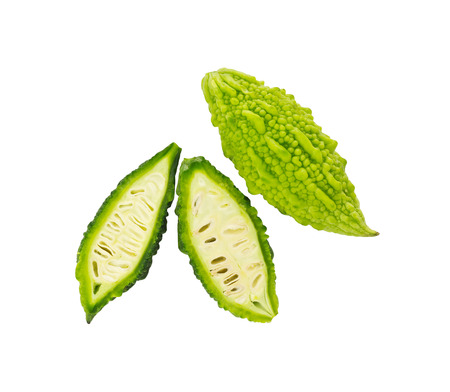 bitter fruit: Momordica charantia, Bitter melon,Bitter Gourd, Carilla Fruit, Balsam Apple, Balsam Pear or Bitter Cucumber, isolate on white background and clipping path