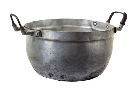 bad condition: Old and bad condition of zinc kitchen pot, isolated on white background and clipping path
