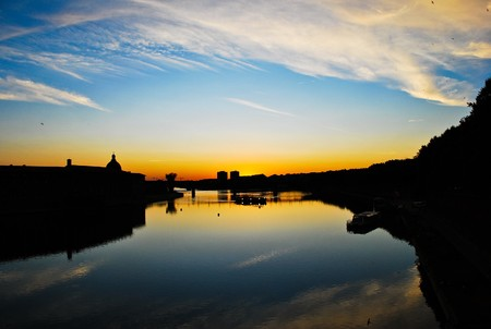 Sunset at Garonne river, Toulouse, France Stock Photo