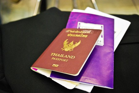 Thai passport & Ticket photo