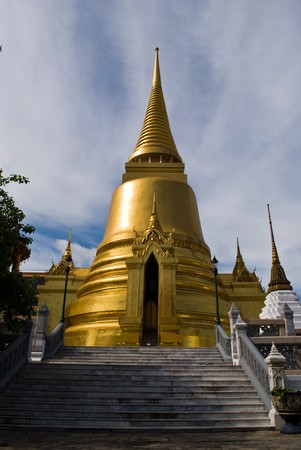 Golden grand stupa of the grand palace - Bangkok Thailand Stock Photo