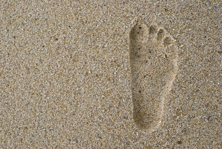 Footprint on sand photo