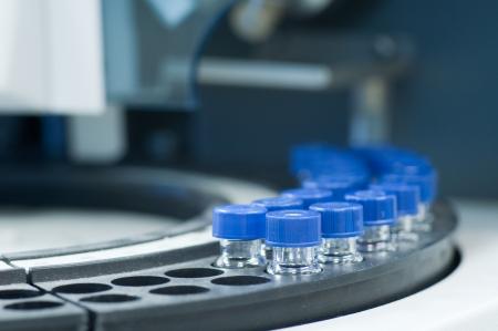 laboratory labware: Sample vial in line