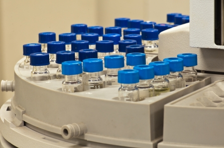 Sample vials are waiting for analysis
