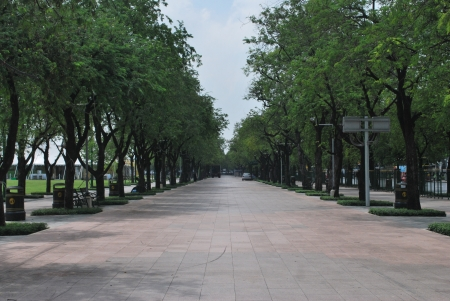 Green walkway at Sanam luang Bangkok, Thailand