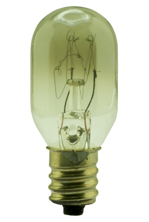 Broken light bulb on white background photo