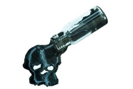 Spilling vial, black skull liquid formed, on white background photo