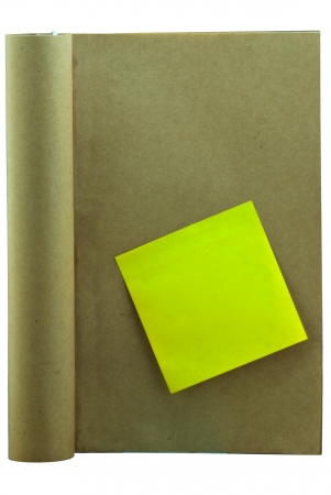 Open ancient book with post-it note in white background Stock Photo