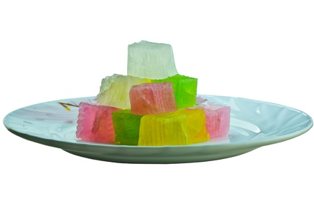 Cubic Thai dessert in a dish isolated in black background Stock Photo - 17039894