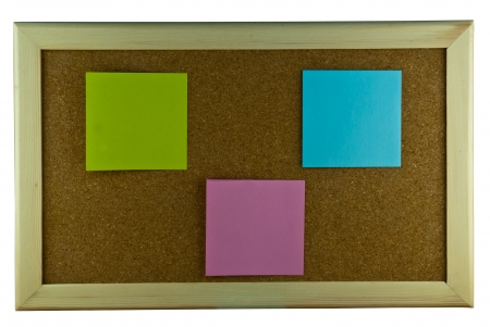 Three post-it note on cork board photo