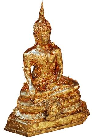Buddha image with full gold leaf isolated on white background