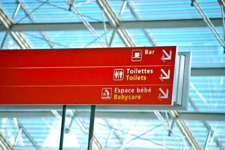 Airport sign in English and France