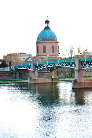 Historic building in Toulouse near the Garonne river