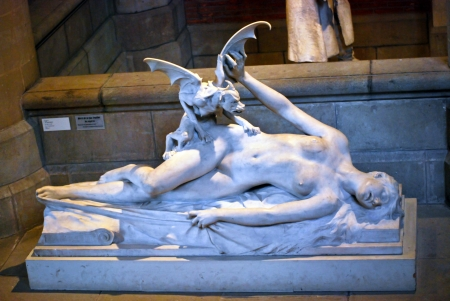 A marble statue of woman was eaten by monster