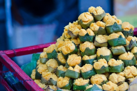 Dessert thai sweet sugar palm cake with coconut photo