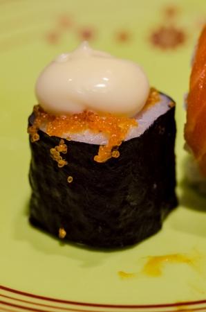 Philadelphia classic  Salmon, Philadelphia cheese, cucumber, avocado, tobiko  Japanese sushi Stock Photo - 18356072