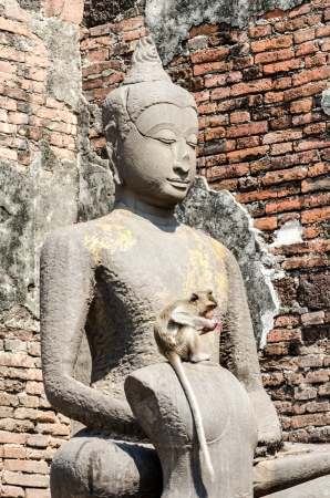 Ancient Budda image, Lopburi, Thailand photo
