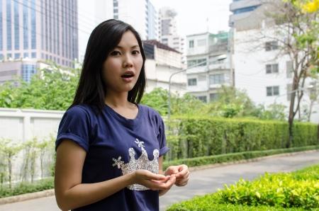 graden: Lovely Chinese girl in the graden Stock Photo