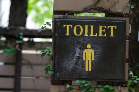 Male toilet board in the garden. photo