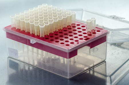 Transfer pipette tips in rack photo