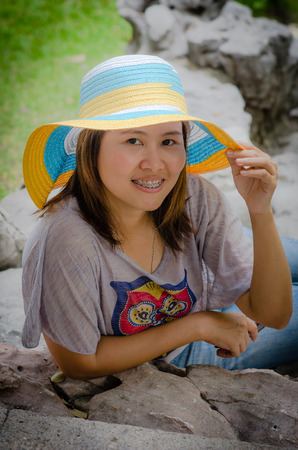 Portrait of a beautiful Asian woman smiling - outdoor