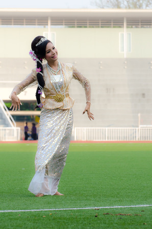 The traditional Asian dance performs at Chulalongkorn university on 22 March 2014