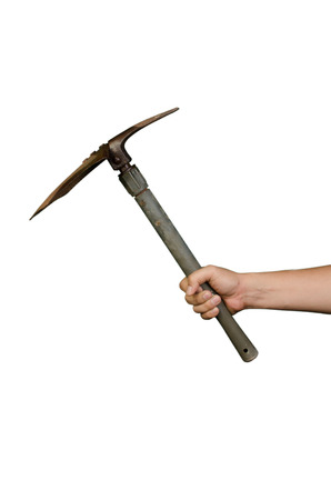 A hand holding old dirty rusty shovel isolated on white background Stock Photo - 27586022