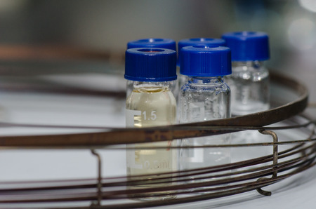 analytical: Analytical chemistry sample vial (blue screw cap) with column