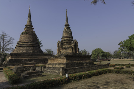 fourteenth: Temple surrounded by elephants is a late fourteenth Century Buddhist temple in Historic Town of Sukhothai and Associated Historic Towns Stock Photo