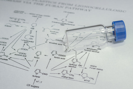 spectrometry: Sample vial on paper with chemical formula Stock Photo