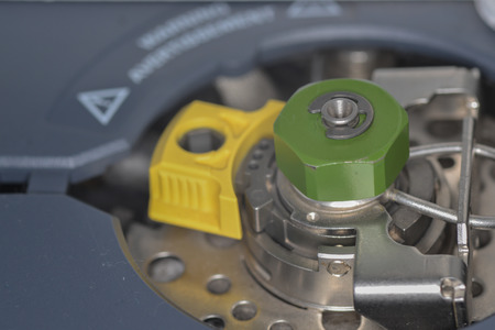chromatograph: Injection port of gas chromatograph closeup