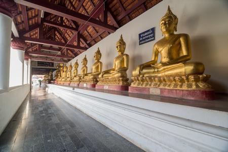 buddhism prayer belief: Golden Buddha statue in the cloister