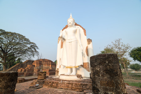 revere: White Buddha statue in ruins temple facing morning sunlight and clear blue sky Stock Photo