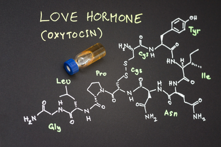 spectrometry: Close-up blue cap sample vial on paper with chemical formula of Oxytocin (love hormone)