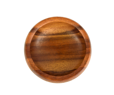 Empty wooden bowl on a white background.