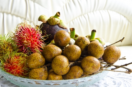 All seasons Thai fruits mangosteen,rambutan and longan photo
