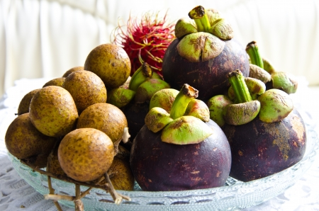 All seasons Thai fruit mangosteen,rambutan and longan photo