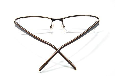 shortsightedness: Closeup of modern glasses on the white background Stock Photo