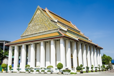 Traditional Thai style architecture, Wat Kanlayanimit, Bangkok, Thailand photo