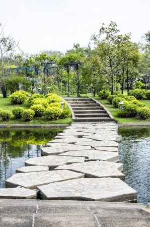 Stepping stones cross the river. Stock Photo