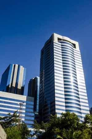 Corporate buildings under blue skies. photo
